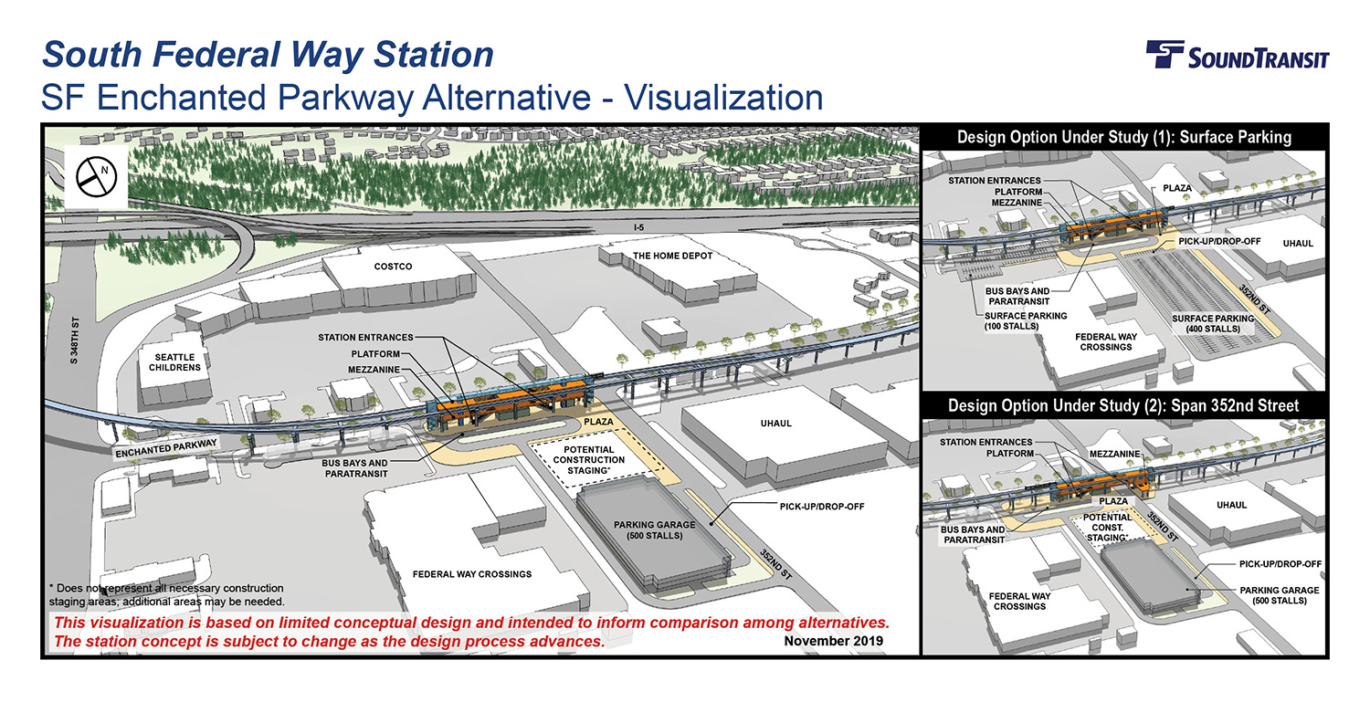 A three-dimensional visualization of the primary station design for the South Federal Way Enchanted Parkway with a parking garage, and visualizations of the two design options.