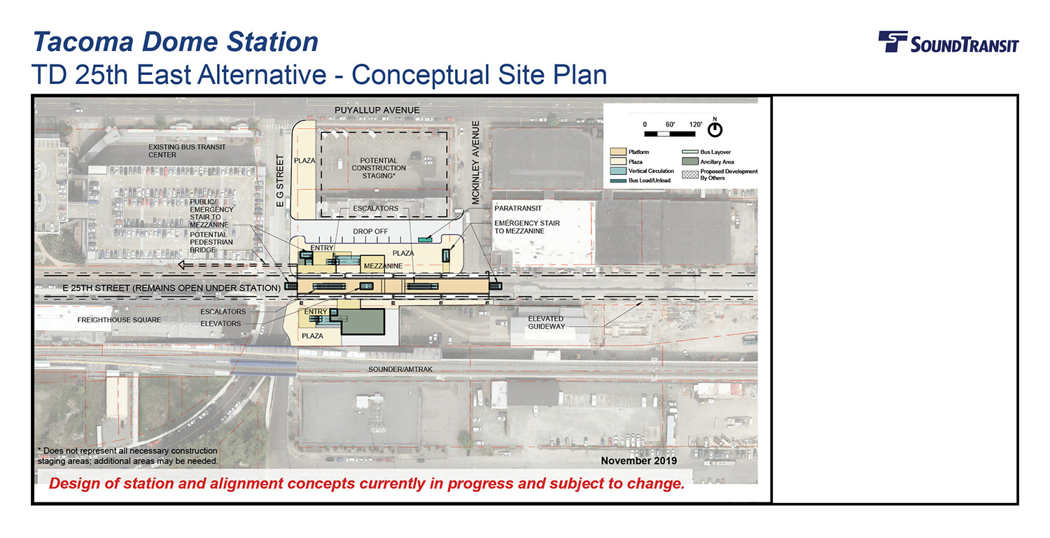 An overhead view of the conceptual site plan for the Tacoma Dome 25th East station above E 25th St and station entry near Freighthouse Square.