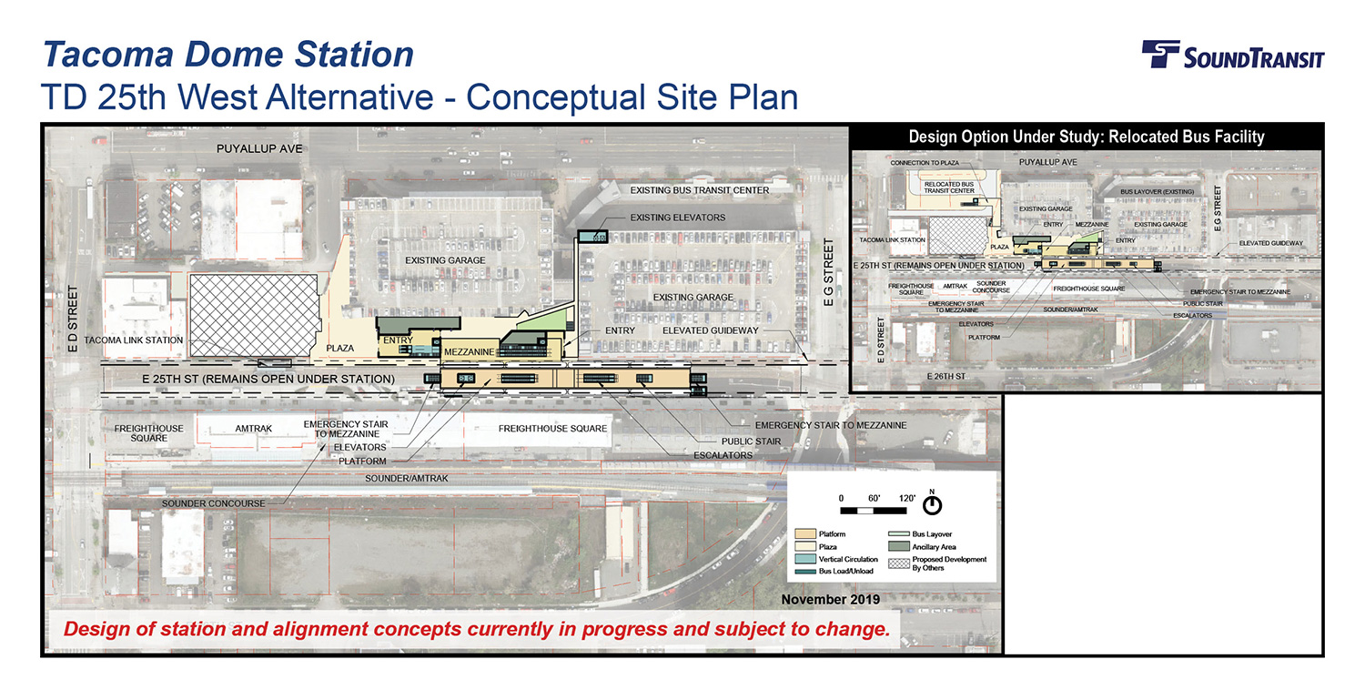 An overhead view of the conceptual site plan for the Tacoma Dome 25th West station above E 25th Street and a design option above E 25th St with a relocated bus facility.