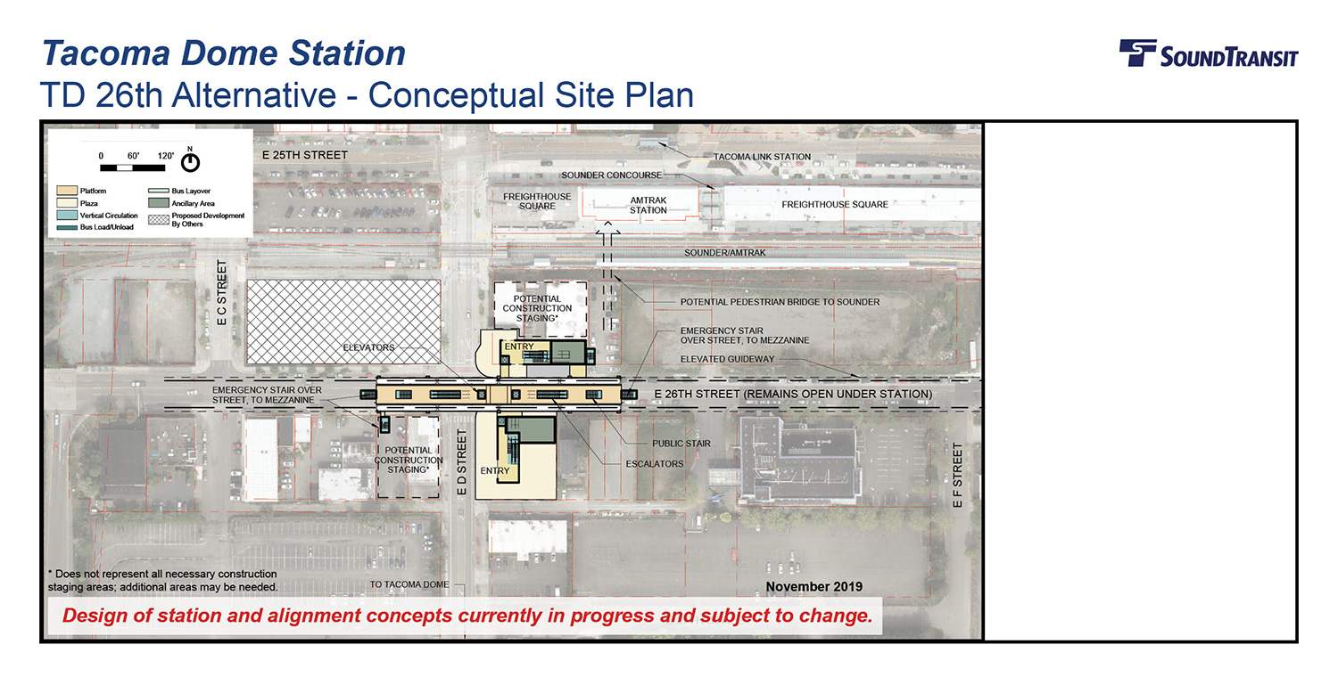 An overhead view of the conceptual site plan for the Tacoma Dome 26th station above E 26th St with an elevated guideway.