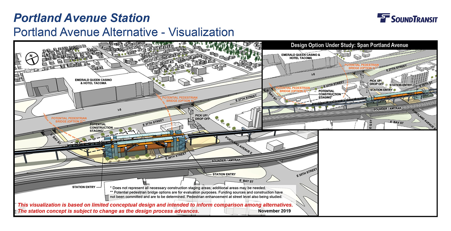 A three-dimensional visualization of the Portland Avenue Station design with station entrances on E 26th St, and a design option with station entrances on either side of Portland Avenue.