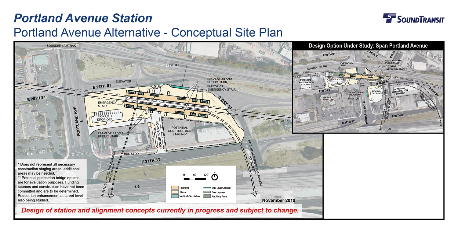 An overhead view of the conceptual site plan for the Portland Avenue station with potential pedestrian bridges and a design option that spans Portland Avenue.
