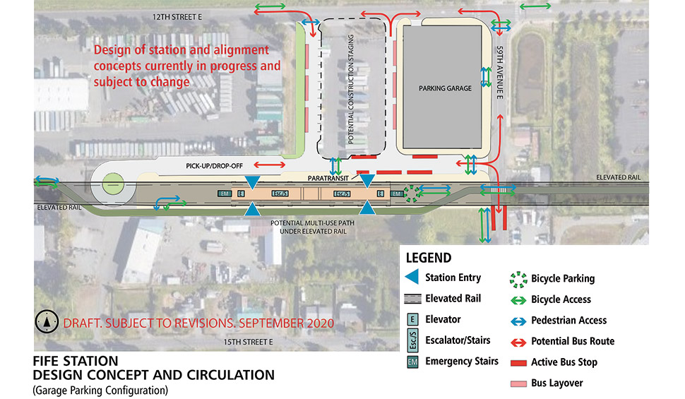 A map of the Fife Median station alternative. The station will have an elevated landing to access the light rail when it enters the station.  Elevators, escalators and stairs spread throughout the station. Adjacent to the station is a pick-up/ drop-off zone and bus transfer space. Bicycle parking is located east of the station under the elevated rail. A parking garage is located northeast of the station area. East of the parking garage is space for bus layovers.  Click map to view a full-size PDF map.