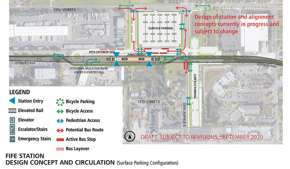 A map of the Fife Median station alternative. The station will have an elevated landing to access the light rail when it enters the station.  Elevators, escalators and stairs spread throughout the station. Adjacent to the station is a pick-up/ drop-off zone and bus transfer space. Bicycle parking is located east of the station under the elevated rail. Surface level parking is located north of the station. Bus layover space is located on the western side of the surface level parking space.  Click map to view a full-size PDF map.