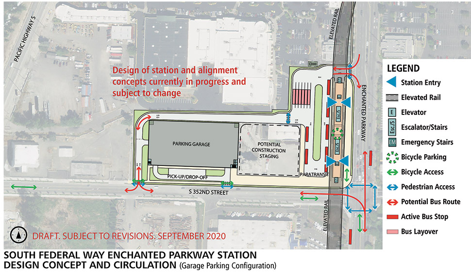 Map of South Federal Way Enchanted Parkway station alternative. This station will have an elevated landing to access the light rail when it enters the station.  Bicycle parking and storage is located on the station platform with elevators, escalators and stairs spread throughout the station. Next to the station alternative is a bus transfer area and bus layover space. A parking garage is nearby with an adjacent pick-up/ drop-off zone. Click map to view a full-size PDF map.