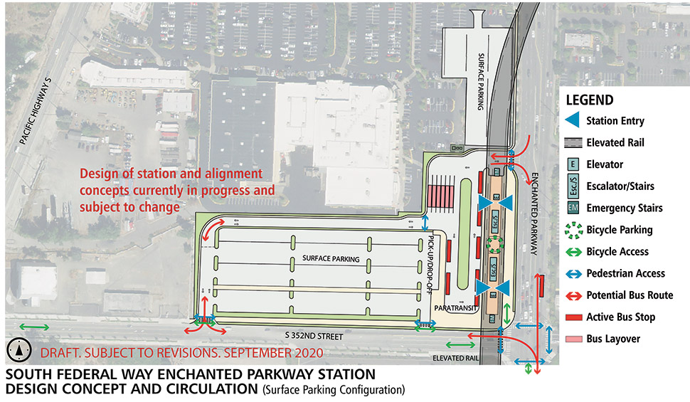 Map of South Federal Way Enchanted Parkway station alternative. This station alternative will have an elevated landing to access the light rail when it enters the station.  Bicycle parking and storage is located on the station platform with elevators, escalators and stairs spread throughout the station. Next to the station alternative is a bus transfer area and bus layover space. There are two surface level parking lots, one north of the station alternative and one east of the station alternative. A pick-up/ drop-off zone is located between the bus transfer space and eastern surface level parking lot. Click map link to view a full-size PDF map. Click map to view a full-size PDF map.