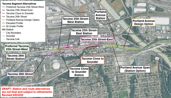 Satellite map of Tacoma Dome route and station alternatives. East Tacoma has two station alternatives being considered on Portland Ave E. Tacoma Dome has four station alternatives being considered.  E 25th St – West is the preferred route alternative.  Click map to view a full-size PDF map.