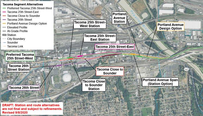 Bản đồ vệ tinh của tuyến Tacoma Dome và các phương án thay thế cho nhà ga. Phía Tây Tacoma có hai nhà ga thay thế được xem xét trên Portland Ave E. Tacoma Dome có bốn nhà ga thay thế được xem xét.  E 25th St – Phía Tây là tuyến thay thế ưu tiên.  Nhấp vào bản đồ để xem bản đồ PDF cỡ lớn nhất.