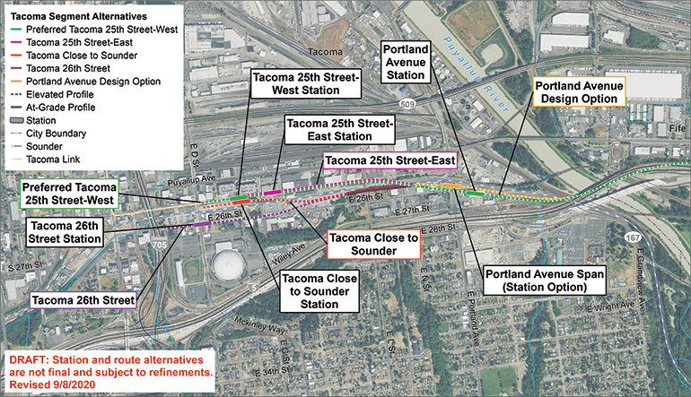 Satellite map of Portland Avenue and Tacoma Dome route and station alternatives. Click map to view a full-size PDF map.