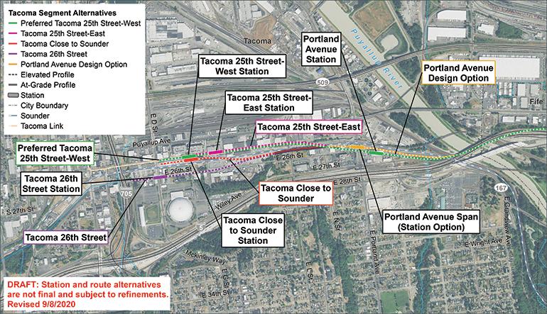 Portland Avenue와 Tacoma Dome 대안 노선 및 역의 위성 지도. 지도를 클릭하면 전체 크기의 PDF 지도를 볼 수 있습니다.