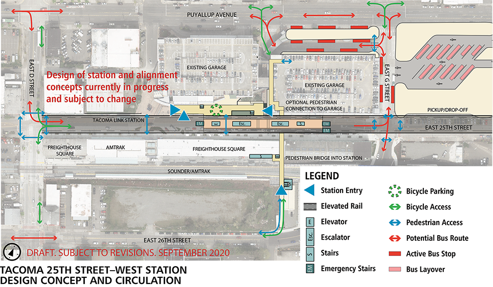 Map of Tacoma Dome – Close to Sounder station alternative. This station will have an elevated landing to access the light rail when it enters the station. The elevated track ends at E D St. Elevators, escalators and stairs spread throughout the station. Bicycle parking is located outside of the station platform. North of the station is an existing parking garage. On the northside of the parking garage is a space for bus layovers. East of the parking garages is a bus transfer space.  A pedestrian bridge from E 26th St connects to the station platform over the Sounder train tracks.  Click map to view a full-size PDF map.