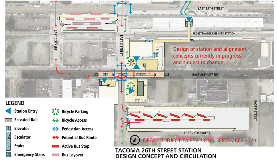 Map of Tacoma Dome – 26th St station alternative. This station will have an elevated landing to access the light rail when it enters the station. The elevated track ends after E C St. Elevators, escalators and stairs spread throughout the station. Bicycle parking is located outside of the platform on the northside and southside. A bus layover space is located at the bounds of E 25th St, E D St and E C St. A bus transfer space is located at the bounds of E F St, E 27th St and E D St. Click map to view a full-size PDF map.