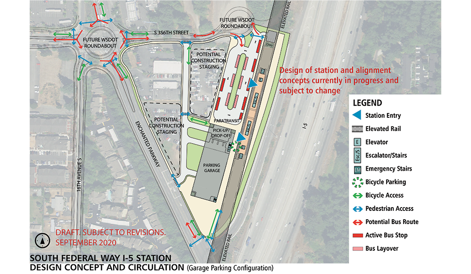 Map of South Federal Way I-5 station alternative. This station will have an elevated landing to access the light rail when it enters the station.  Bicycle parking and storage is located on the station platform with elevators, escalators and stairs spread throughout the station. Bus transfer areas, bus layover, and a parking garage are adjacent to the station. A pick-up/ drop-off zone is located between the parking garage and bus transfer area. The Washington State Department of Transportation plans to install a roundabout at the intersection of S 336th St, Enchanted Parkway and 16th Ave S. Click map to view a full-size PDF map.