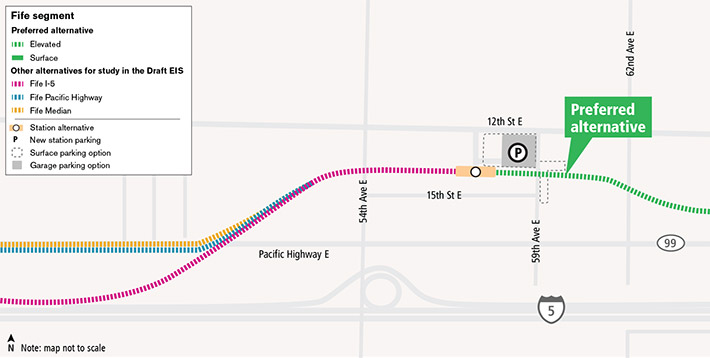 Sound Transit 이사회의 우선 대안 노선인 우선 Fife 대안은 Federal Way에서 출발한 뒤 I-5를 따라가다가 Porter Way에서 점차 구부러지기 시작하며 잠시 나란히 이어지다가 'Pacific Highway East'라고도 하는 SR 99를 횡단합니다. 그 다음 노선은 북서 방향으로 구부러지다가 12th Street East 남쪽에서 동서 방향으로 이어집니다. 이후 노선은 59th Avenue East의 서쪽에 있는 고가 Fife 역으로 들어갑니다. Fife 역은 저희가 Fife에서 연구 중인 유일한 역입니다.   그 역을 나와서 서쪽으로 이동하는 세 가지 대안 노선을 연구하고 있습니다. Fife Pacific Highway 고가 노선은 역에서 서쪽 방향으로 나와서 54th Avenue East를 횡단하여 Willow Road 근처 Pacific Highway의 남쪽으로 이동합니다. 이 고가 노선은 Pacific Highway의 남쪽을 따라 계속되다가 34th Avenue East에 도달하면 남쪽으로 방향을 바꾸어 프로젝트의 Tacoma 구간으로 이어지는 I-5의 북쪽까지 운행됩니다. 저희는 또한 'Fife Median'이라는 노선도 연구하고 있습니다. 이 노선은 Fife Pacific Highway 노선과 유사합니다. 그러나, Pacific Highway의 중간부터 고가로 전환되면서 34th Avenue East에 도달하면 남쪽으로 방향을 바꾸어 프로젝트의 Tacoma 구간으로 이어지는 I-5의 북쪽까지 운행됩니다. 마지막으로, 저희는 Fife I-5 노선을 연구하고 있습니다. 이 노선은 Fife 역에서 서쪽 방향으로 나와 54th Avenue East를 횡단하여 남쪽으로 방향을 전환하고, Pacific Highway를 횡단하여 점차 구부러지면서 프로젝트의 Tacoma 구간으로 I-5 북쪽 방향과 나란히 이어집니다. 이러한 모든 대안 노선은 Tacoma로 이어지는 Puyallup 강을 횡단하는 우선 대안 노선과 다시 만납니다.
