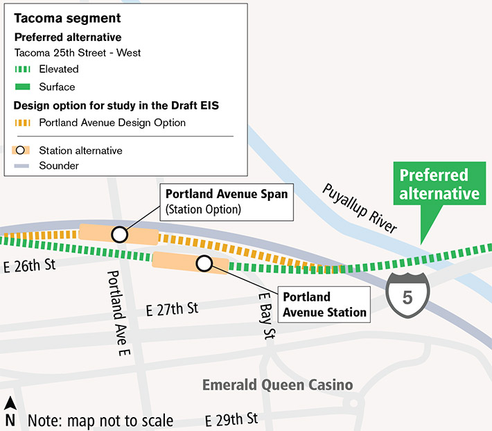 Representative map of Portland Avenue route and station alternatives. The preferred route alternative passes through a station alternative located between Portland Ave E and E Bay St. A second station alternative spans the road of Portland Ave E and is adjacent to Sound Transit Sounder tracks. Click map to view a full-size PDF map.