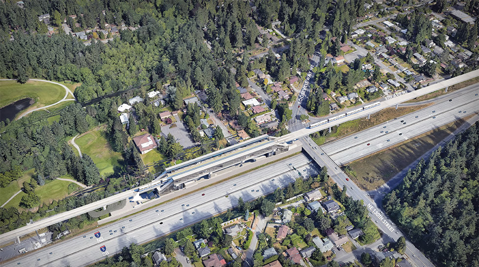 Aerial View of NE 130th Street Infill Station. Click image link to view a full-size PDF.