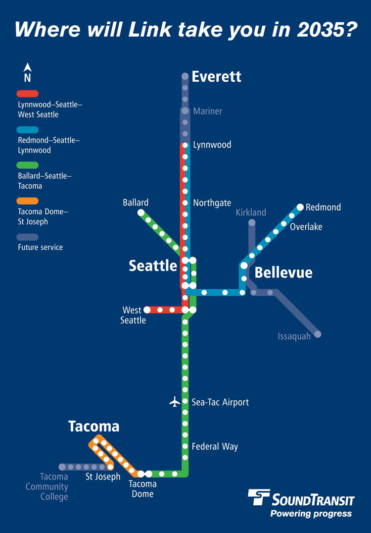 A map of Sound Transit Link light rail connections in 2030, with the Red, Blue, Green and Orange Lines. The Red line will connect Lynnwood, Seattle and West Seattle, the Blue Line will connect Bellevue, Seattle and Lynnwood, the Green Line will connect Seattle, Tacoma and Federal Way, and the Orange Line connects the Tacoma Dome to the Hilltop District