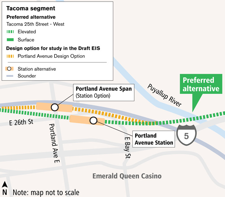 Bản đồ biểu diễn của tuyến Portland Avenue và các phương án thay thế cho nhà ga. Tuyến thay thế ưu tiên đi qua nhà ga thay thế nằm giữa Portland Ave E và E Bay St. Nhà ga thay thế thứ hai trải đến tận đường Portland Ave E và liền kề với đường ray Sound Transit Sounder. Nhấp vào bản đồ để xem bản đồ PDF cỡ lớn nhất.