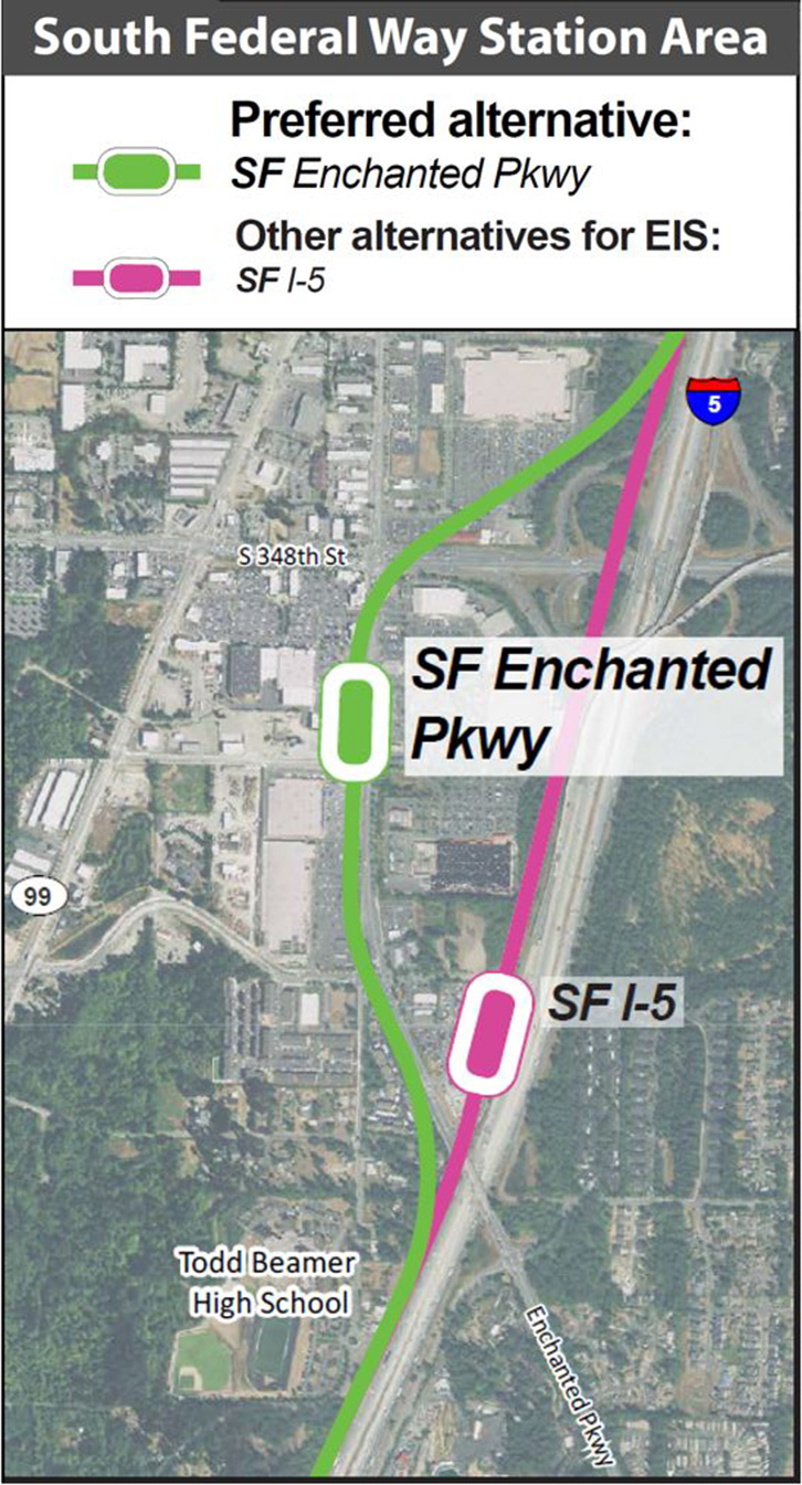A map of the Tacoma Dome Link Extension South Federal Way segment with a preferred alignment along Enchanted Parkway and an alignment along I-5.