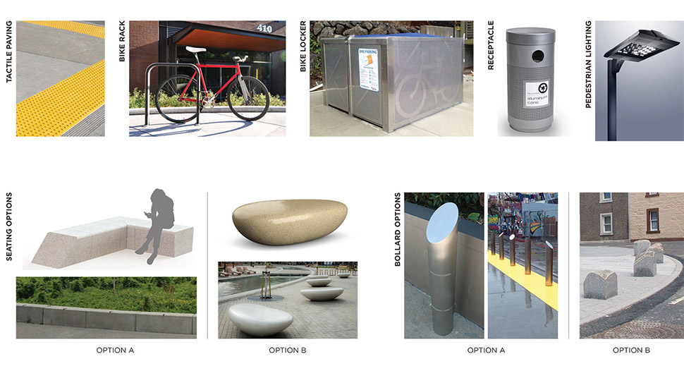 Graphic featuring samples of the various structures at the Northeast 130th Street Station, including tactile paving, bike racks, bike lockers, trash receptacles, pedestrian lighting, various seating options and different bollard selections. Click image link to view a full-size JPEG.
