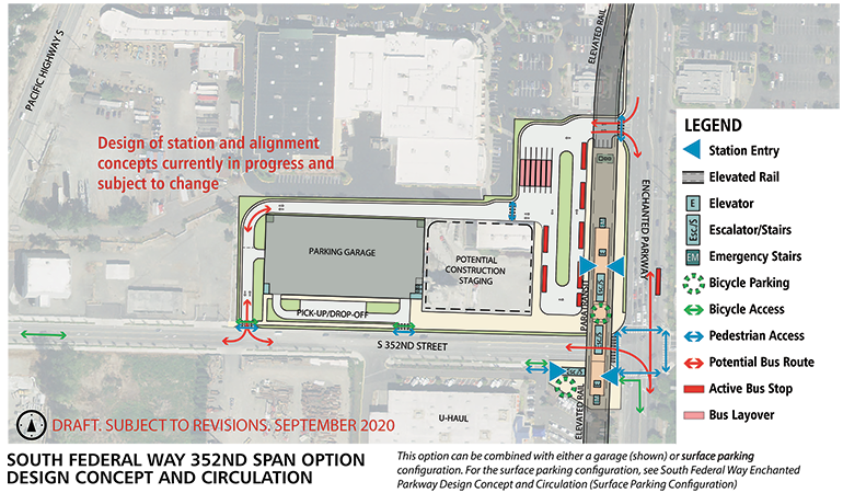 Map of South Federal Way Enchanted Parkway station alternative. The station platform extends to cross S 352nd St This station will have an elevated landing to access the light rail when it enters the station. Bicycle parking and storage is located on the station platform with elevators, escalators and stairs spread throughout the station. Next to the station alternative is a bus transfer area and bus layover space. A parking garage is nearby with an adjacent pick-up/ drop-off zone. Click map to view a full-size PDF map.
