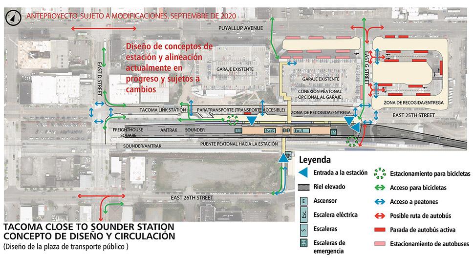 Mapa de Tacoma Dome – Cerca de la alternativa de estación de Sounder, diseño de la plaza de transporte público. Esta estación tendrá una plataforma elevada para acceder al tren ligero cuando este ingrese a la estación. Las vías elevadas finalizan en E D St. Hay elevadores, escaleras eléctricas y escaleras fijas distribuidas por toda la estación. El área para estacionar las bicicletas está ubicada fuera del andén de la estación. Al norte de la estación se encuentra un estacionamiento. En el lado norte del estacionamiento hay un área para las paradas de autobús. Al este de los estacionamientos hay un área de transbordo de autobuses diseñada como una plaza de transporte público en forma de U. Un puente peatonal opcional desde la E 26 St. conecta con el andén de la estación sobre las vías de Sounder.  Haga clic en el mapa para verlo en PDF en tamaño completo.