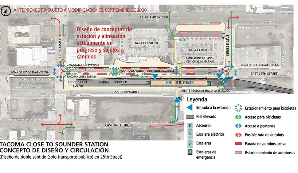 Mapa de Tacoma Dome – Cerca de la alternativa de estación de Sounder, diseño de un solo sentido. En esta opción de diseño, East 25th Street está configurada como una calle de un solo sentido hacia el este. Esta estación tendrá una plataforma elevada para acceder al tren ligero cuando este ingrese a la estación. Las vías elevadas finalizan en E D St. Hay elevadores, escaleras eléctricas y escaleras fijas distribuidas por toda la estación. El área para estacionar las bicicletas está ubicada fuera del andén de la estación. Al norte de la estación se encuentra un estacionamiento. En el lado norte del estacionamiento hay un área para las paradas de autobús. Inmediatamente al norte de la estación y hacia el oeste hay paradas de autobuses a lo largo de la calle de un solo sentido con diseño dentado. Un puente peatonal opcional desde la E 26 St. conecta con el andén de la estación sobre las vías de Sounder.  Haga clic en el mapa para verlo en PDF en tamaño completo.
