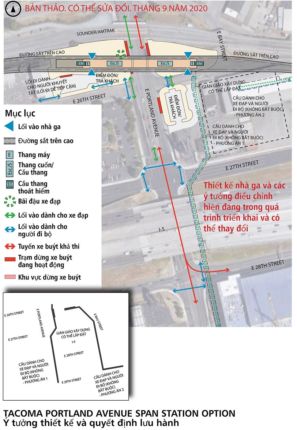 Bản đồ nhà ga thay thế tùy chọn mở rộng Portland Avenue. Nhà ga này sẽ có điểm dừng trên cao để tiếp cận đường sắt hạng nhẹ khi vào nhà ga. Chỗ để và đỗ xe đạp nằm tại sân nhà ga có thang máy, thang cuốn và cầu thang bộ trải khắp nhà ga.  Các điểm dừng xe buýt hoạt động nằm xung quanh nhà ga. Hai khu vực đón/trả khách nằm liền kề với nhà ga: một khu vực nằm ở phía Tây và một khu vực nằm ở phía Đông Nam của nhà ga. Nhấp vào bản đồ để xem bản đồ PDF cỡ lớn nhất.