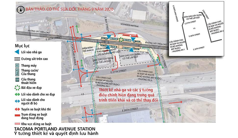 Bản đồ nhà ga thay thế Portland Avenue. Nhà ga này sẽ có điểm dừng trên cao để tiếp cận đường sắt hạng nhẹ khi vào nhà ga. Chỗ để và đỗ xe đạp nằm tại sân nhà ga có thang máy, thang cuốn và cầu thang bộ trải khắp nhà ga.  Các điểm dừng xe buýt hoạt động nằm gần nhà ga. Khu vực đón/trả khách nằm ở phía Tây Nam của nhà ga. Nhấp vào bản đồ để xem bản đồ PDF cỡ lớn nhất.