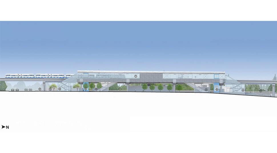 Horizontal view of the Northeast 130th Street Station, highlighting the location of the platform, entrances, bike storage, stairs, plaza, escalators and elevators. Click image link to view a full-size JPEG.