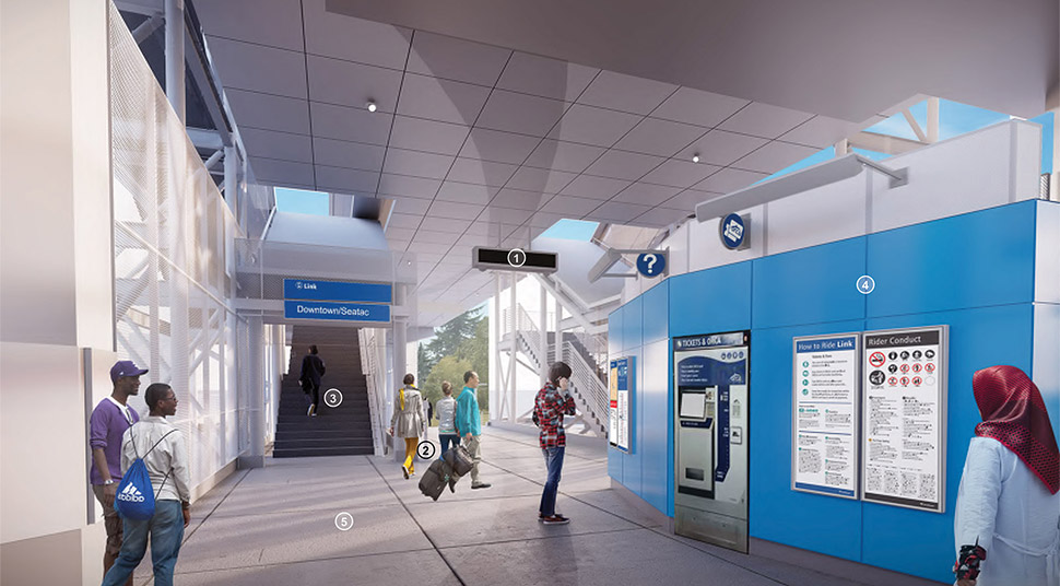 Image of the north lobby at the Northeast 130th Street Station, featuring real-time information, information kiosks and card readers. Click image link to view a full-size JPEG.