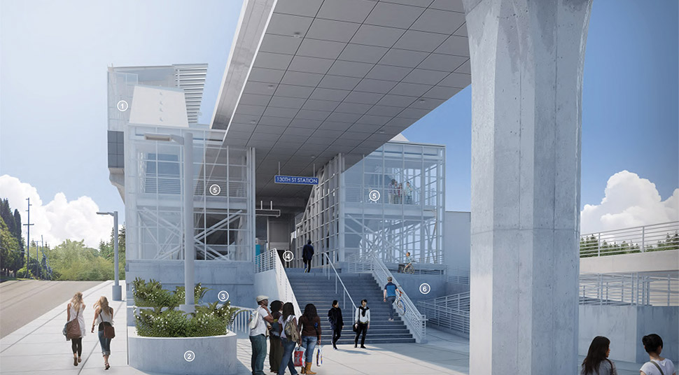 North plaza entrance of the Northeast 130th Street Station, featuring a boarding platform over the plaza and station body that shows a bioretention planter, bike storage, stairs and ADA ramp. Click image link to view a full-size JPEG.