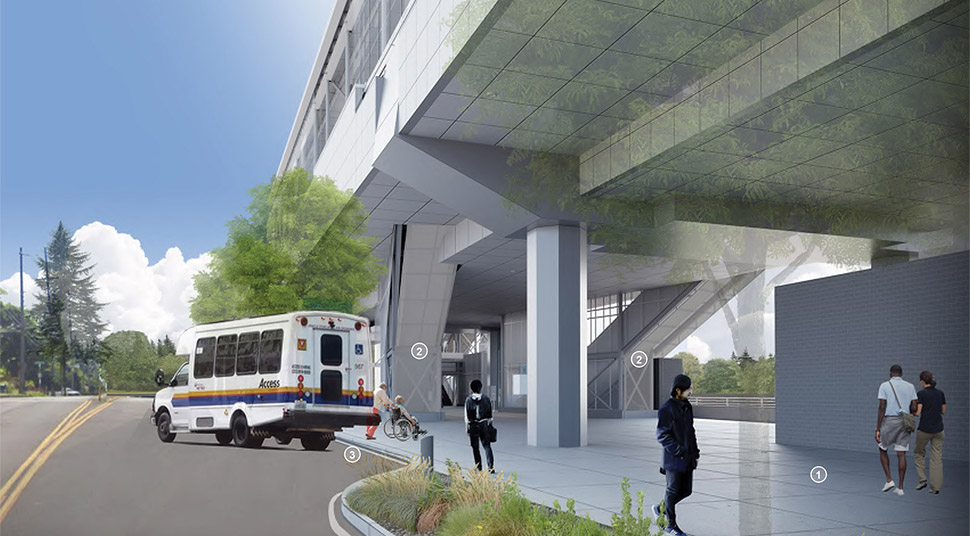 Image of the para-transit drop-off section of the Northeast 130th Street Station, featuring the plaza, escalator and an example of para-transit (shuttle). Click image link to view a full-size JPEG.