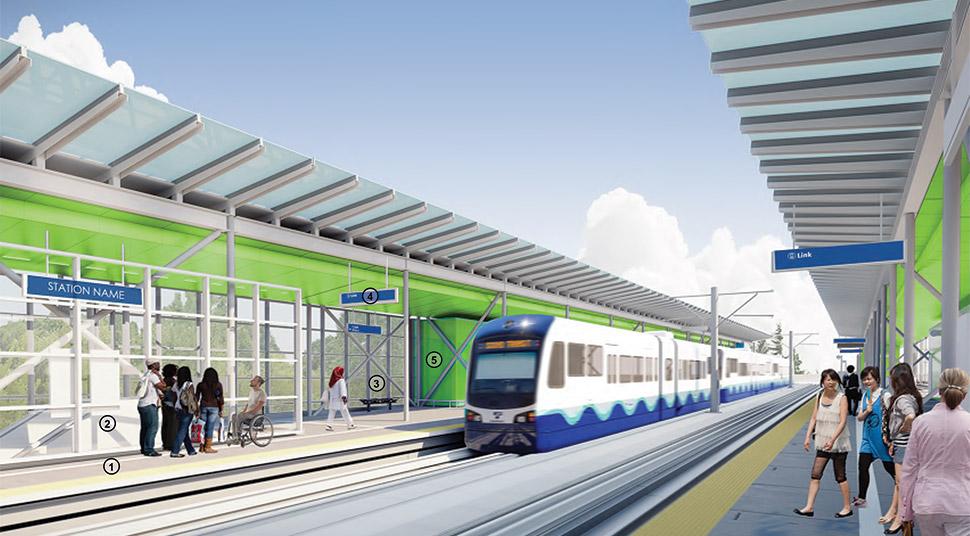 Northeast 130th Street 车站向南方向的渲染图,车站面板使用绿色。点击图片链接以查看全尺寸 PDF。点击图片链接以查看全尺寸 JPEG。