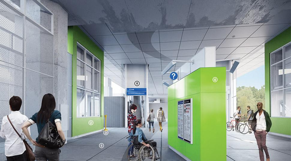 Northeast 130th Street 车站北大厅的渲染图,车站面板使用蓝色。