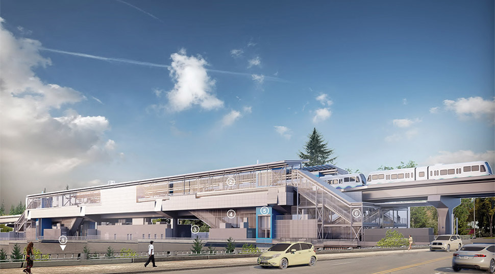 View of Northeast 130th Street Station from the overpass, highlighting design elements such as the platform, plaza, escalator, elevator and stairs. Click image link to view a full-size JPEG.