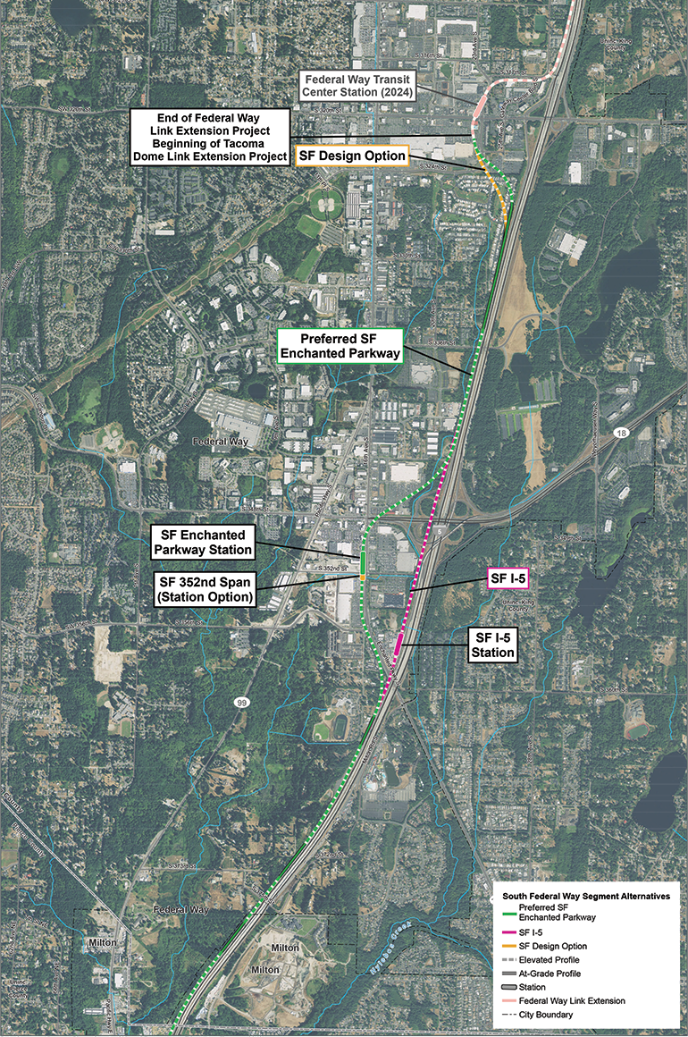 Satellite map of South Federal Way route and station alternatives. The preferred route alternative travels along Enchanted Parkway S with station alternatives at Enchanted Parkway S and S 352nd St. Another route alternative travels adjacent to I-5 with a station alternative near S 356th St. Click map to view a full-size PDF map.