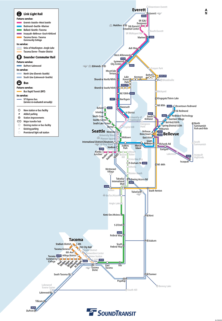 Map showing future service provided by Sound Transit.  Tacoma Dome Link Extension extends regional light rail from Federal Way to Tacoma Dome Station area with stations at South Federal Way, Fife, East Tacoma and Tacoma Dome Station. Service dates are based on pre-COVID-19 schedules and are subject to change. Click map to view a full-size PDF map.
